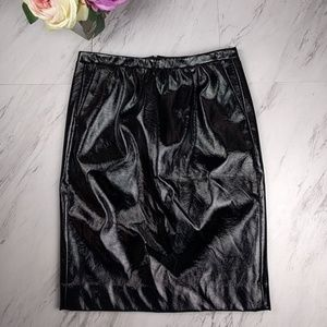 Black Faux Leather Pencil Skirt SZ2